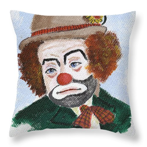 Clowns Throw Pillow featuring the painting Ronnie The Clown by Arlene Wright-Correll