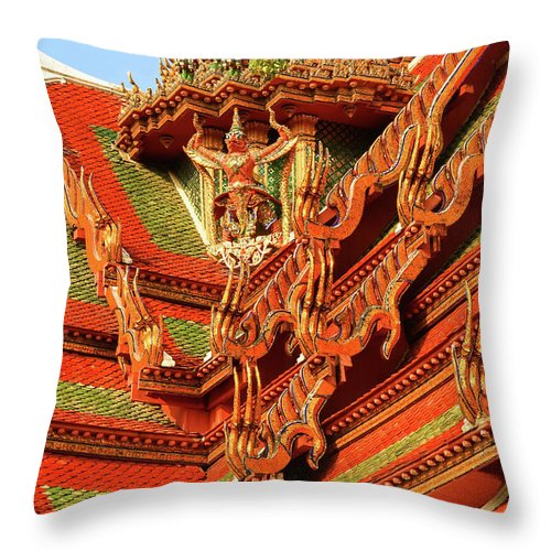 Gerlya Sunshine Throw Pillow featuring the photograph Roof Of Buddhist Temple In Thailand by Gerlya Sunshine
