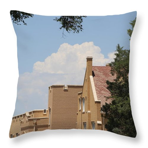 Throw Pillow featuring the photograph Roof Tops and Clouds by Colleen Cornelius