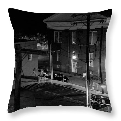 Black White Throw Pillow featuring the photograph Rooftop Court by Jean Macaluso