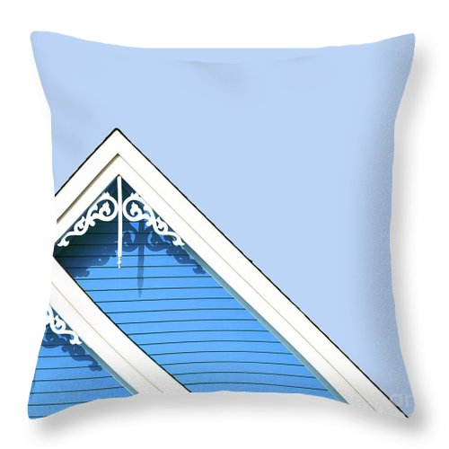 Architecture Throw Pillow featuring the photograph Rooftop Detail With Decorative Fretwork by Jane Rix