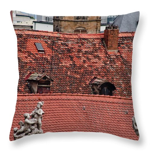 Bamberg Throw Pillow featuring the photograph Rooftops Of Bamberg II by Thomas Marchessault