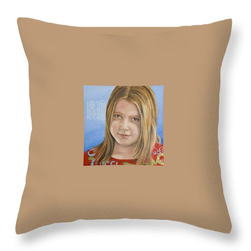 Portrait Throw Pillow featuring the painting Roos by Rob De Vries