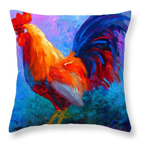 Rooster Throw Pillow featuring the painting Rooster Bob by Marion Rose