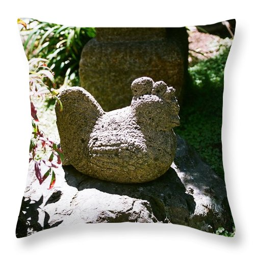 Stone Throw Pillow featuring the photograph Rooster by Dean Triolo