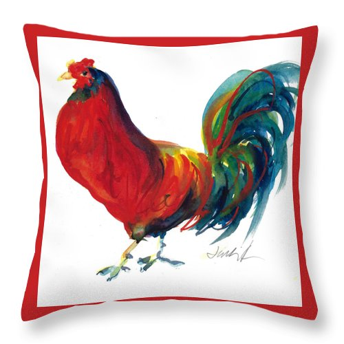 Rooster Painting Throw Pillow featuring the painting Rooster - Little Napoleon by Jacki Kellum