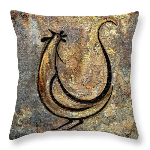 Rooster Throw Pillow featuring the painting Rooster by Rafi Talby