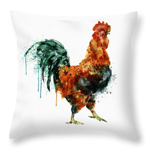 Rooster Throw Pillow featuring the painting Rooster Watercolor Painting by Marian Voicu