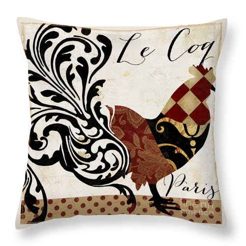 Roosters Throw Pillow featuring the painting Roosters Of Paris II by Mindy Sommers