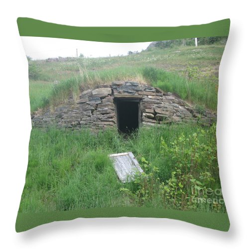 Photograph Cellar Old Green Newfoundland Throw Pillow featuring the photograph Root Cellar by Seon-Jeong Kim