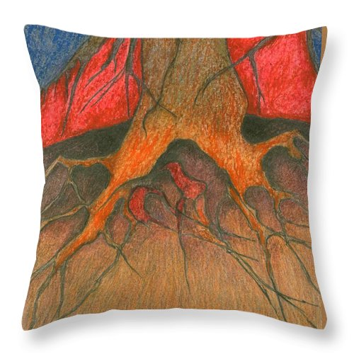 Colour Throw Pillow featuring the painting Roots by Wojtek Kowalski