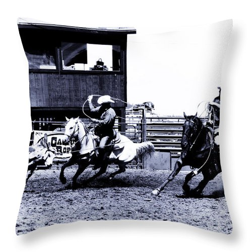 Rodeo Throw Pillow featuring the photograph Roping 1 by Scott Sawyer
