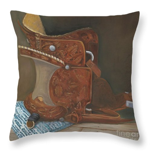 Saddle Throw Pillow featuring the painting Roping Saddle by Mendy Pedersen