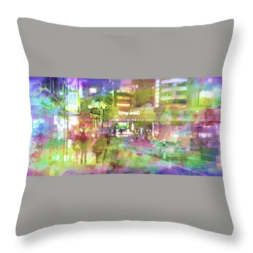 Japan Throw Pillow featuring the painting Roppongi by Romano Da Silva