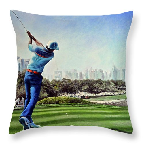 Rory Mcilroy Throw Pillow featuring the painting Rory At Ddc Emirates Gc Dubai 8th 2014 by Mark Robinson
