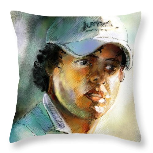 Portrait Painting Golfer Golfart Rory Mcilroy Pga Tour Throw Pillow featuring the painting Rory Mcilroy by Miki De Goodaboom