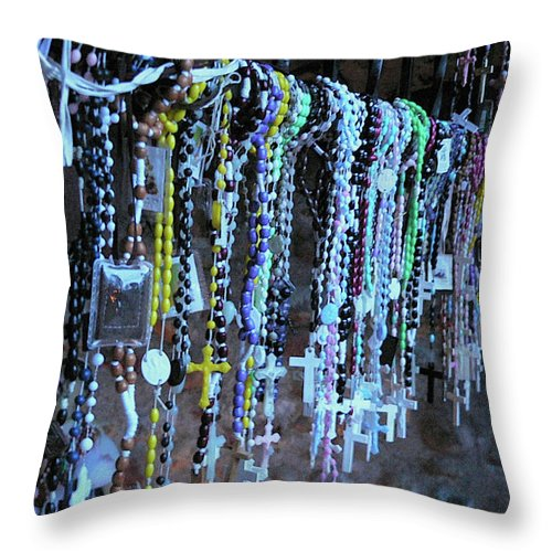 Rosary Throw Pillow featuring the photograph Rosary by Angela Wright