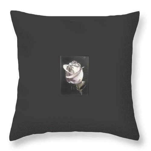 Rose Floral Nature White Flower Throw Pillow featuring the painting Rose 2 by Natalia Tejera