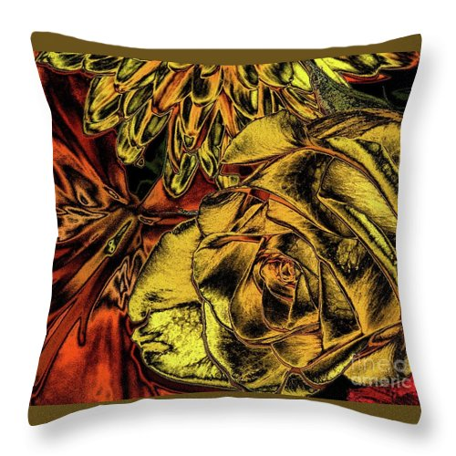 Roses Throw Pillow featuring the photograph Rose And Lily And Mum With Chrome Effect by Rose Santuci-Sofranko
