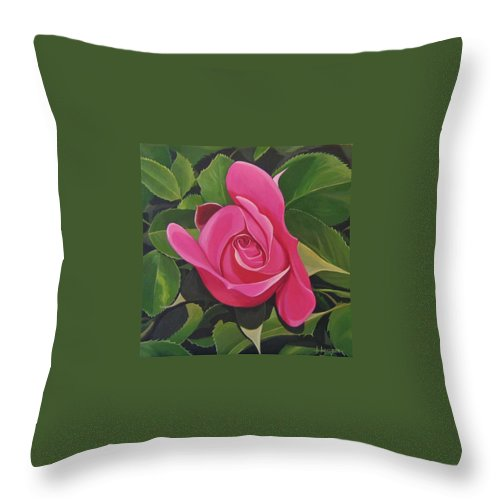 Pink Rose Throw Pillow featuring the painting Rose Arcana by Hunter Jay