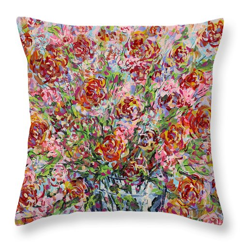 Flowers Throw Pillow featuring the painting Rose Bouquet In Glass Vase by Leonard Holland