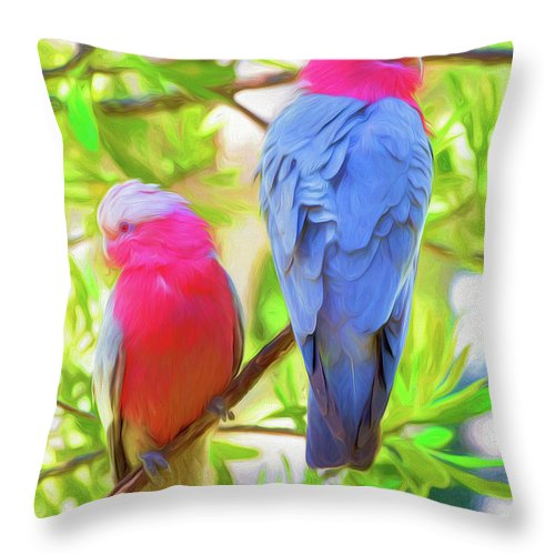 Galahs Throw Pillow featuring the photograph Rose cockatoos by Sheila Smart Fine Art Photography