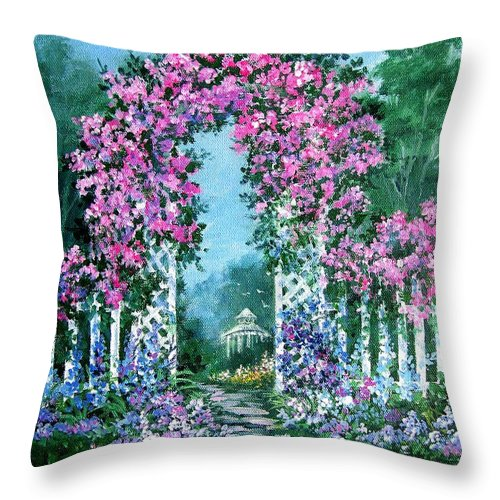 Roses;floral;garden;picket Fence;arch;trellis;garden Walk;flower Garden; Throw Pillow featuring the painting Rose-covered Trellis by Lois Mountz