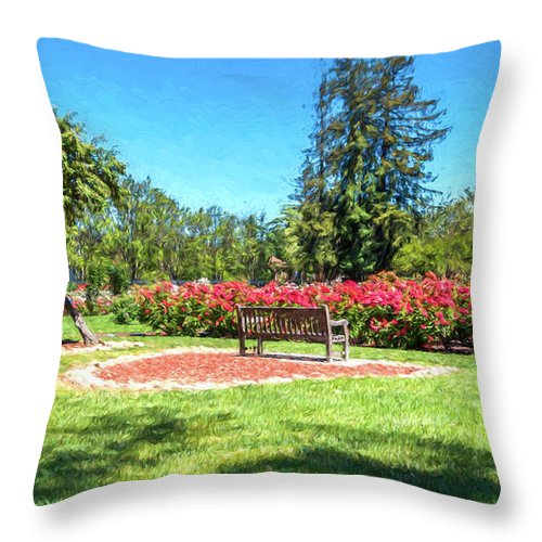 California Throw Pillow featuring the digital art Rose Garden Benches Impressionist Digital Painting by Randy Herring