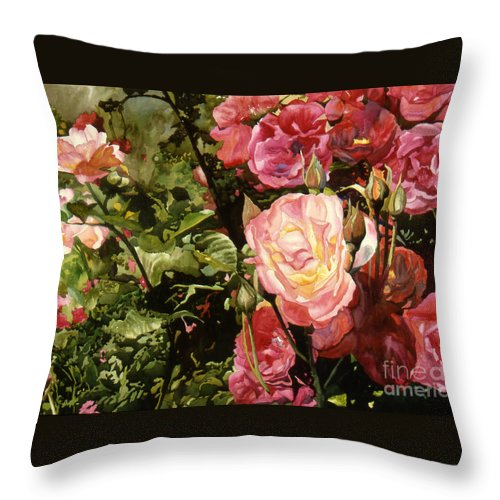 Watercolor Throw Pillow featuring the painting Rose Garden by Teri Starkweather