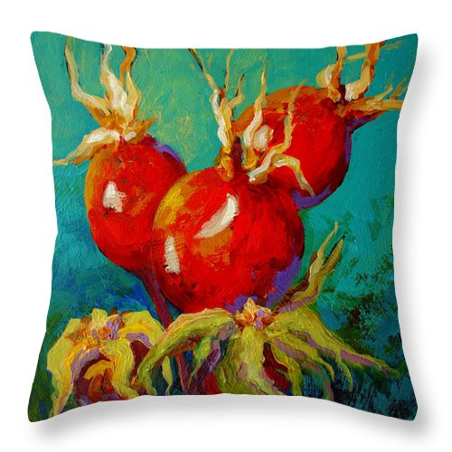 Floral Throw Pillow featuring the painting Rose Hips by Marion Rose