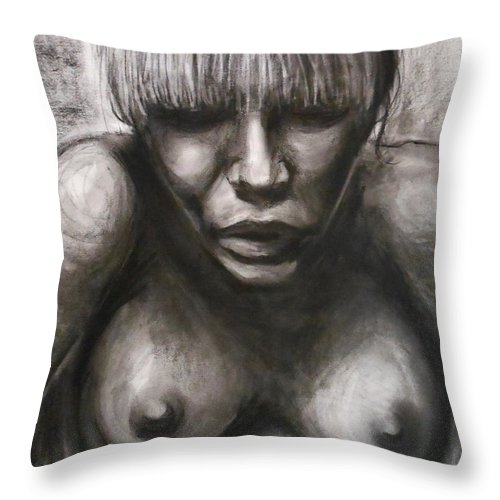 Emotional Throw Pillow featuring the drawing Rose by Jason Reinhardt