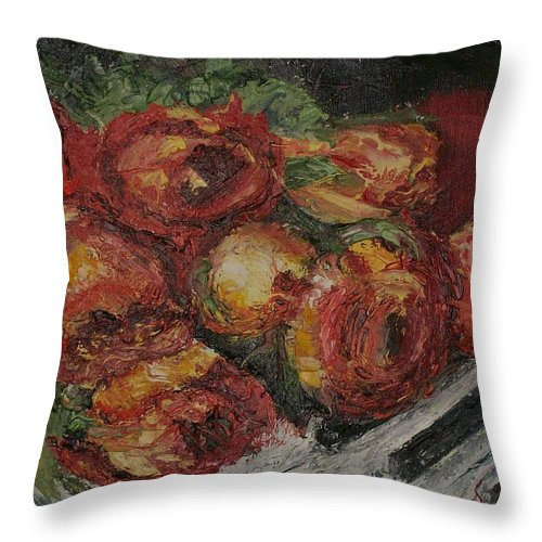 Still Life Throw Pillow featuring the painting Rose Melody by Stephen King