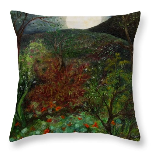 Forest Throw Pillow featuring the painting Rose Moon by FT McKinstry