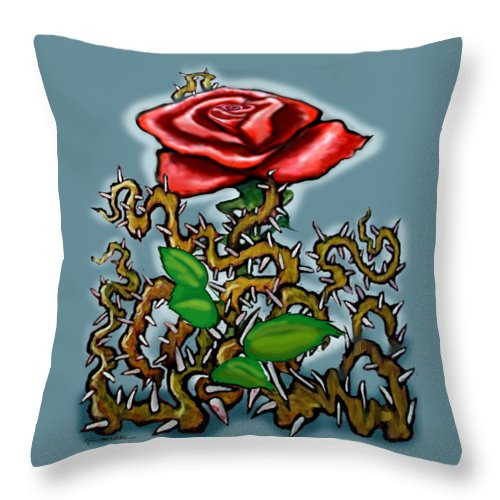 Rose Throw Pillow featuring the painting Rose N Thorns by Kevin Middleton