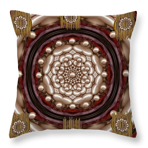 Rose Of Perls Throw Pillow featuring the mixed media Rose Of Japan by Pepita Selles