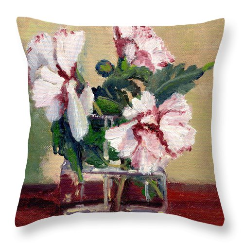 Impressionism Throw Pillow featuring the painting Rose Of Sharon by Keith Burgess