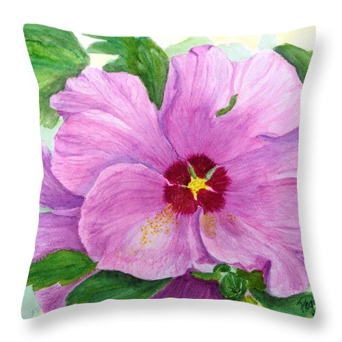 Watercolour Throw Pillow featuring the painting Rose Of Sharon by Peggy King