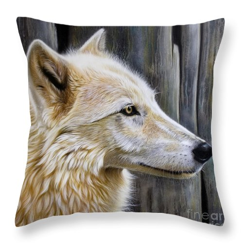 Wolves Throw Pillow featuring the painting Rose by Sandi Baker
