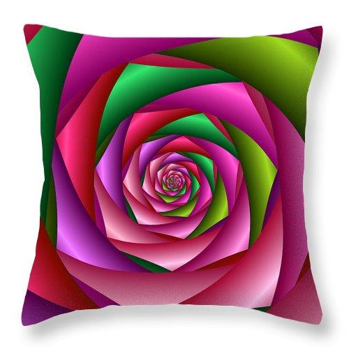 Spiral Throw Pillow featuring the digital art Rose Spiral by Ruth Moratz