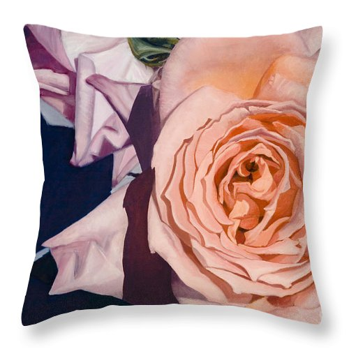 Roses Throw Pillow featuring the painting Rose Splendour by Kerryn Madsen-Pietsch