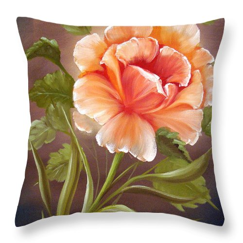 Rose Throw Pillow featuring the painting Rose Tropicana by David G Paul