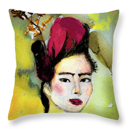 Rose Wearing Her Petals Throw Pillow featuring the mixed media Rose Wearing Her Petals by Sherry Alice Roberts