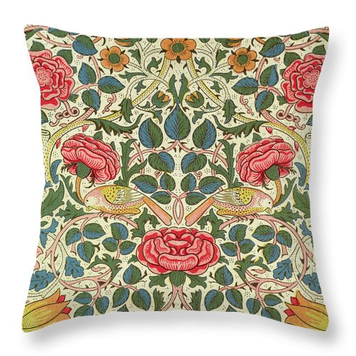 Arts And Crafts Movement; Floral; Pattern; Chintz Throw Pillow featuring the painting Rose by William Morris