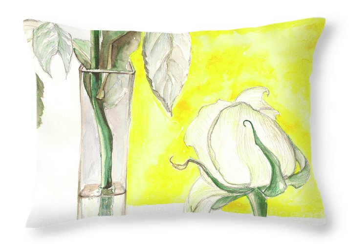 Flower Throw Pillow featuring the painting Rose by Yana Sadykova