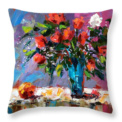 Flowers Throw Pillow featuring the painting Roses And A Peach by Debra Hurd