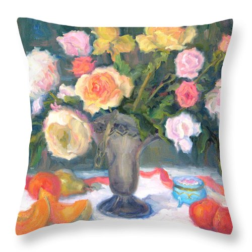 Roses Throw Pillow featuring the painting Roses And Fruit by Bunny Oliver