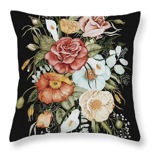 Florals Throw Pillow featuring the painting Roses and Poppies Bouquet by Shealeen Louise