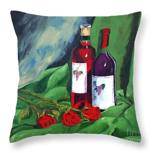 Wine And Roses Red Roses Red Wine Still Life Throw Pillow featuring the painting Roses And Wine by Herschel Fall