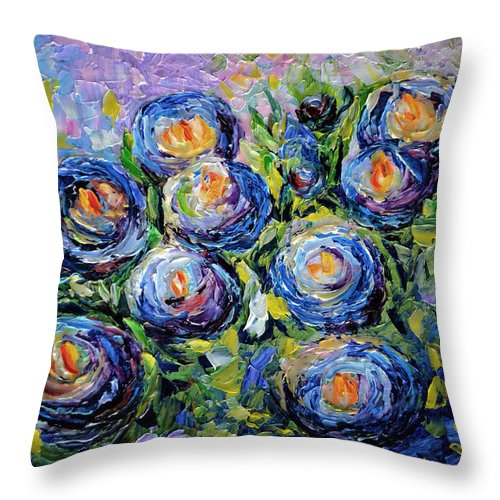 Blue Roses Throw Pillow featuring the painting Roses Are Blue by OLena Art Brand