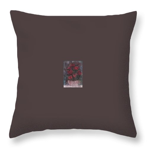 Watercolor Throw Pillow featuring the painting ROSES AT NIGHT gothic surreal modern painting poster print by Derek Mccrea